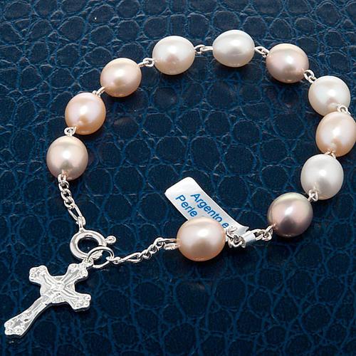 Dziesiątka bransoletka srebro 925 perły słodkowodne 4