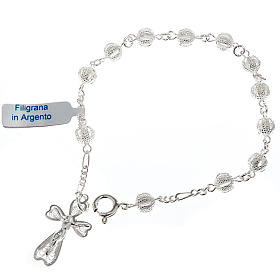 Silver decade bracelet with silver filigree cross s1