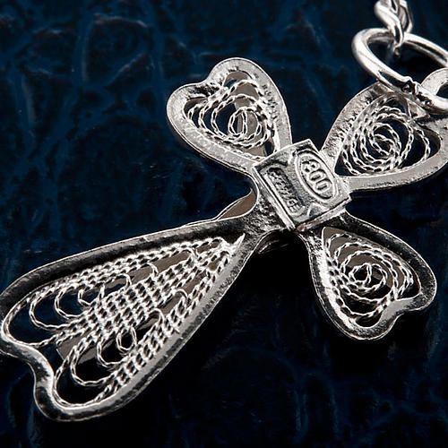 Silver decade bracelet with silver filigree cross 2