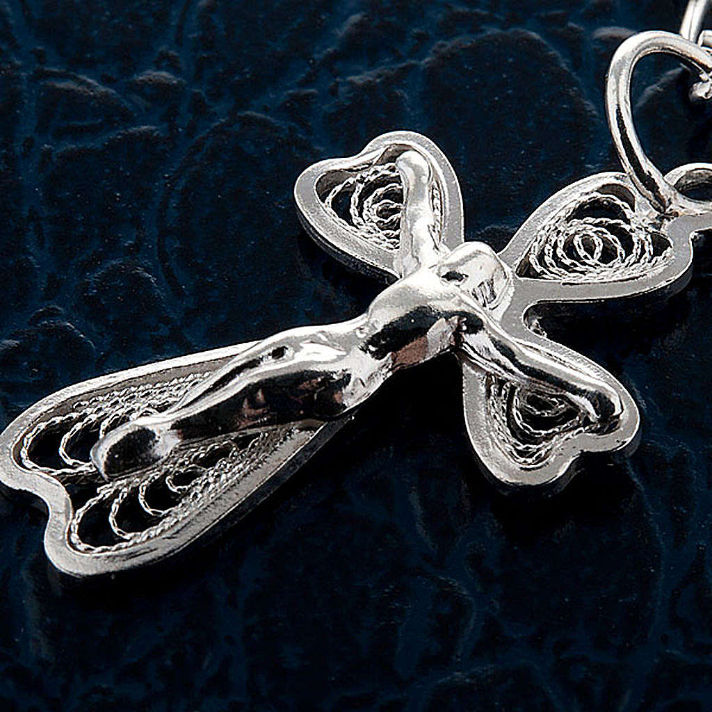 Silver decade bracelet with silver filigree cross 4