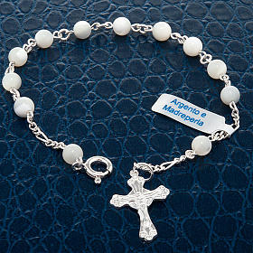 Silver bracelet and mother-of-pearl beads s2