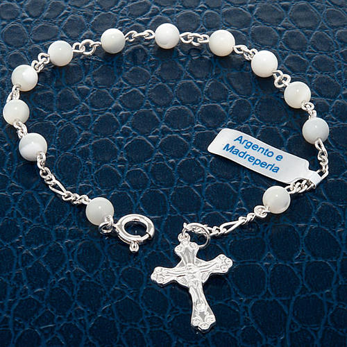 Silver bracelet and mother-of-pearl beads 2