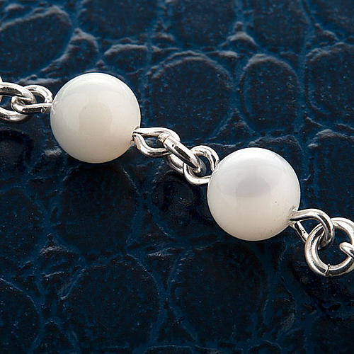 Silver bracelet and mother-of-pearl beads 3