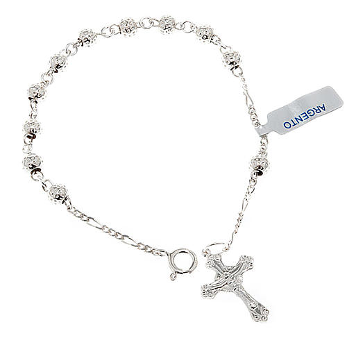 Hammered ten-bead bracelet silver 925 1