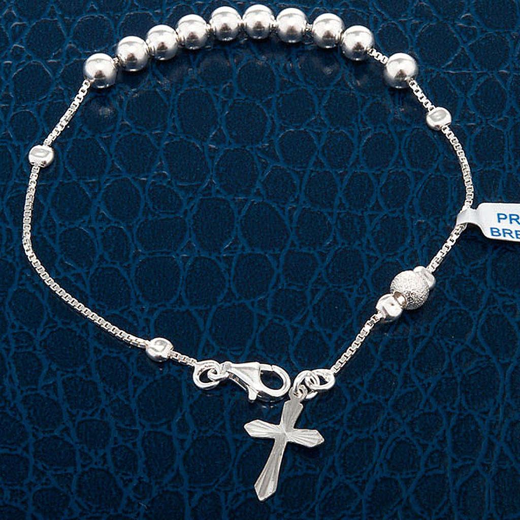 Pulsera decena plata perlas corredizo 4