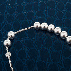 Pulsera decena plata perlas corredizo s2