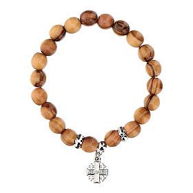 Olive wood bracelet with Jerusalem metal cross s1