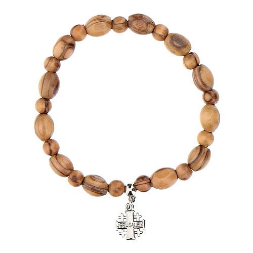 Olive wood bracelet with Jerusalem metal cross 3