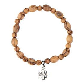 Bracelet en bois d'olivier avec croix Jérusalem en c s3