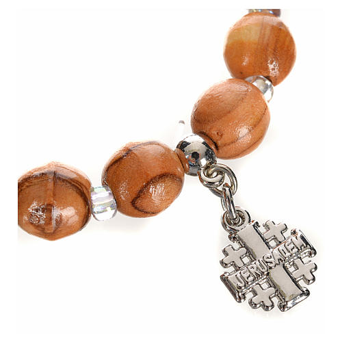Bracelet en bois d'olivier avec croix Jérusalem en c 2