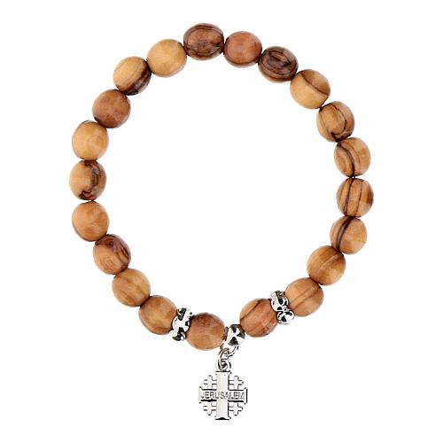 Bracelet en bois d'olivier avec croix Jérusalem en c 1