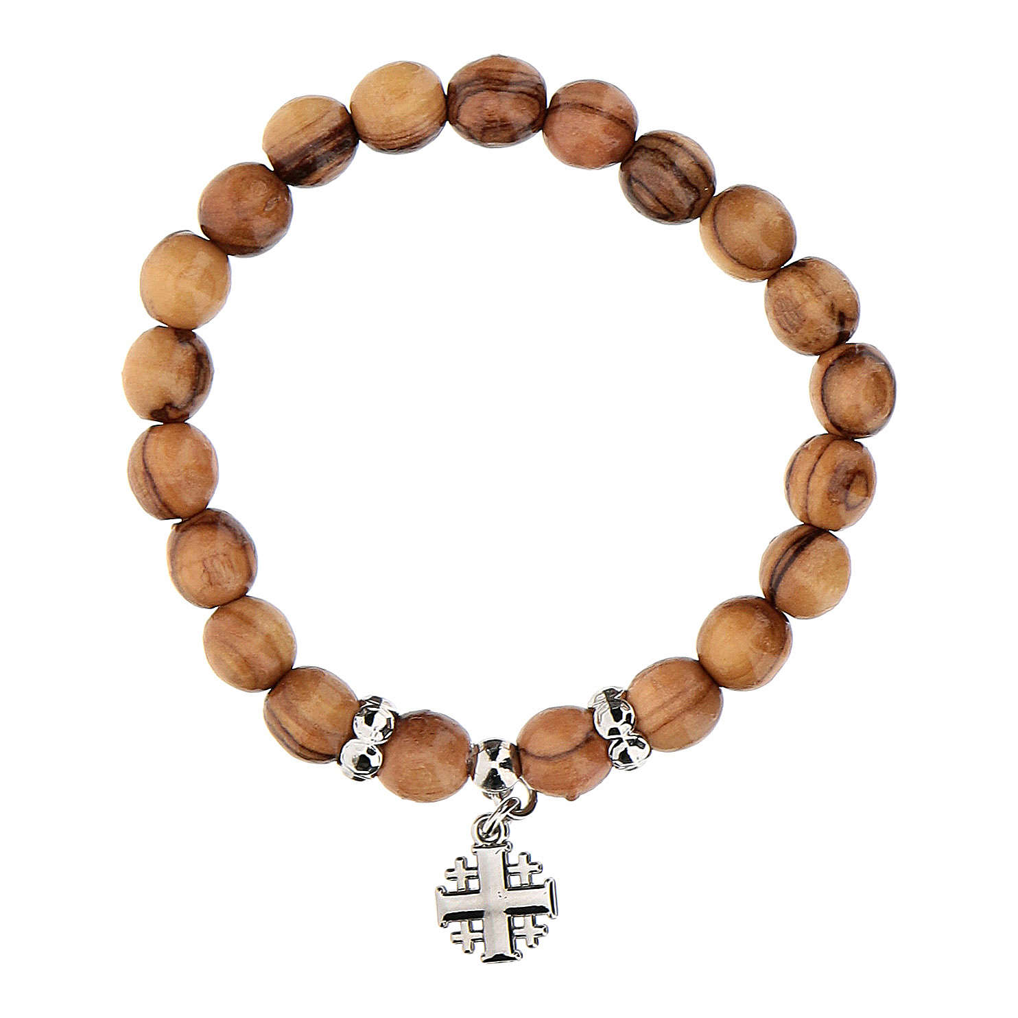 Bransoleta z drewna oliwkowego metalowy krzyż jerozolimski 4