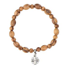 Olive wood bracelet with Jerusalem metal cross s3