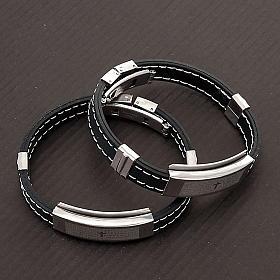 bracelet prière faux cuire, noir s2