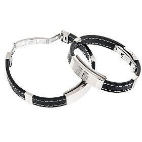 bracelet prière faux cuire, noir s4