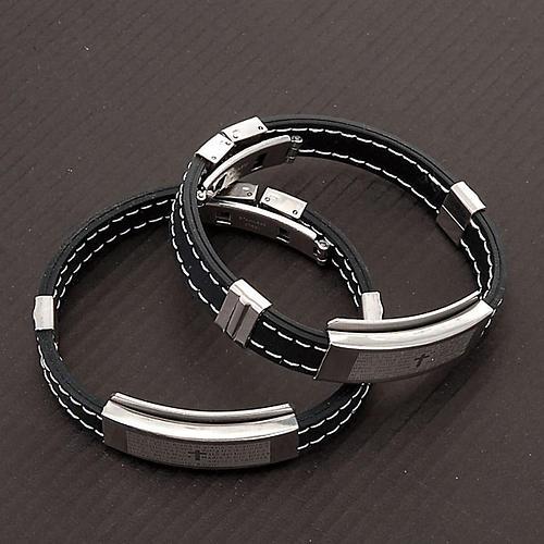 bracelet prière faux cuire, noir 2