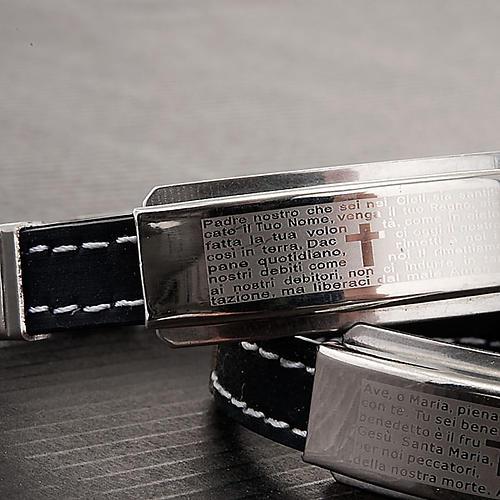 bracelet prière faux cuire, noir 3