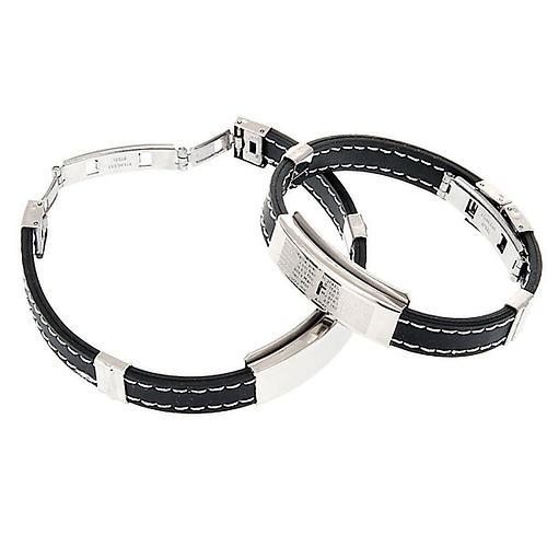 bracelet prière faux cuire, noir 4