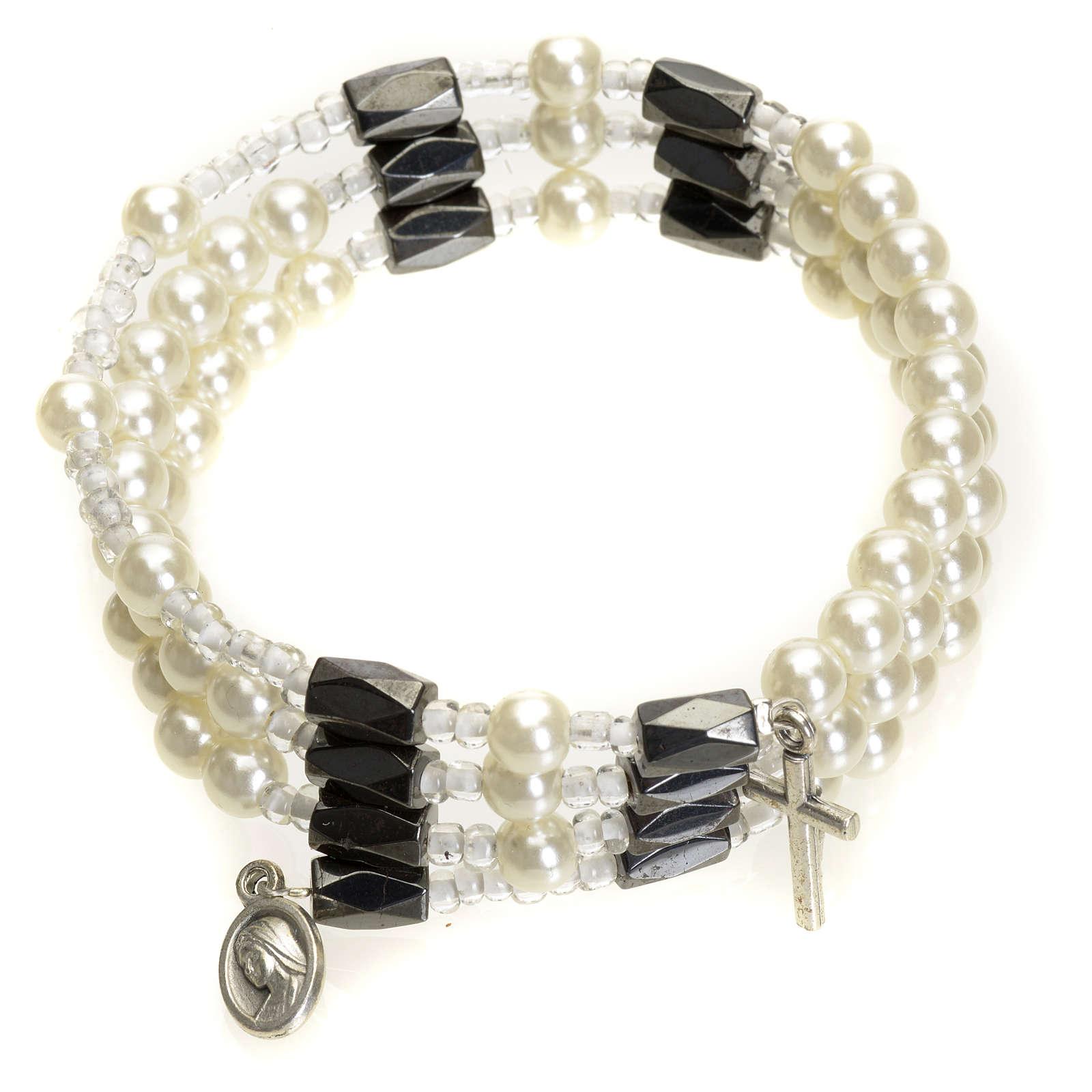 Brazalete rosario Medjugorje perlas blancas 4