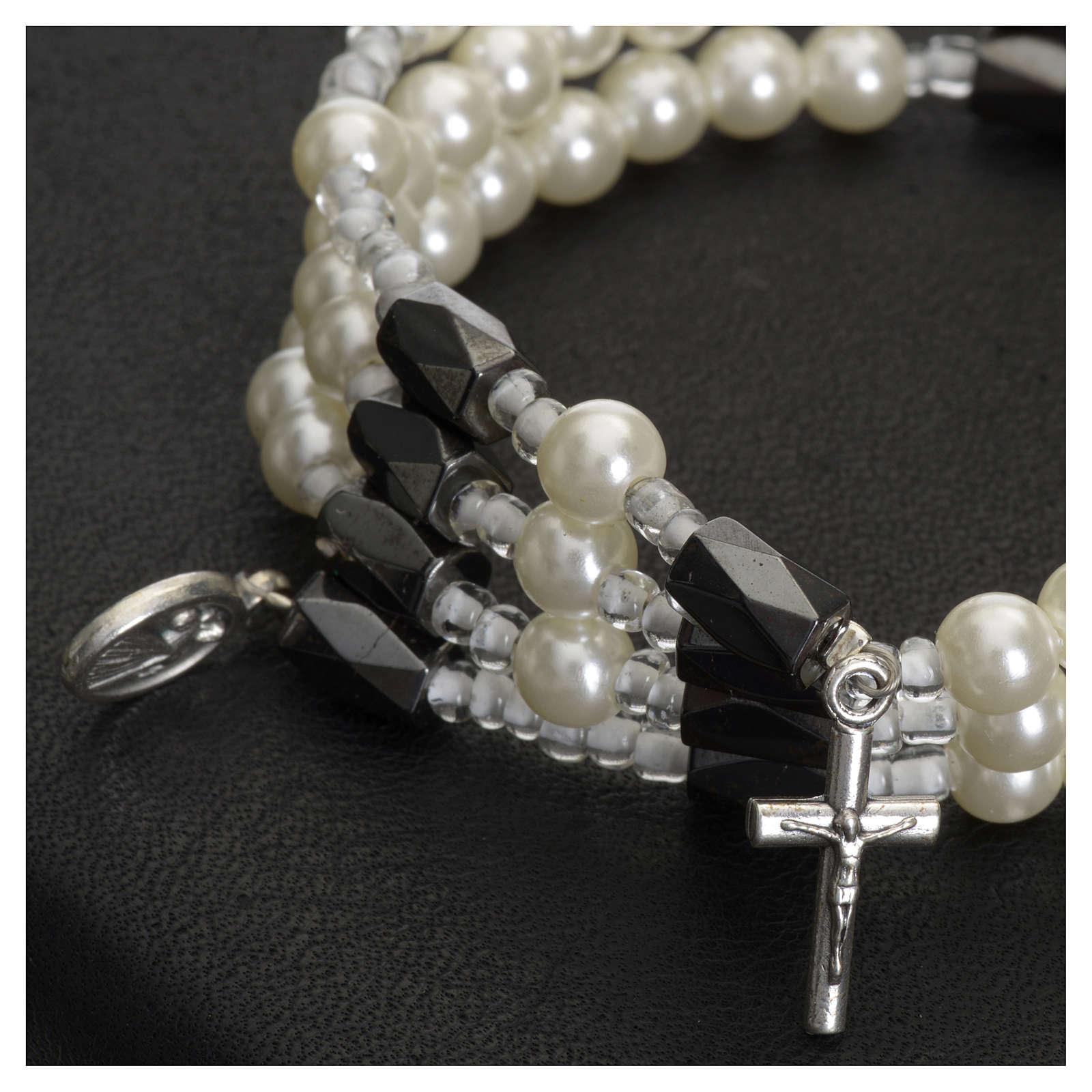 Bracciale rosario Medjugorje perline bianche 4