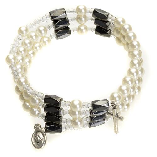 Bracciale rosario Medjugorje perline bianche 1