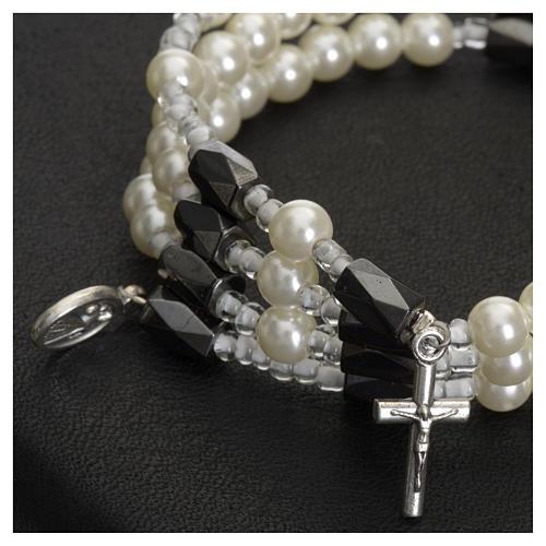 Bracciale rosario Medjugorje perline bianche 2