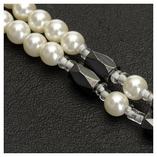 Bracciale rosario Medjugorje perline bianche 3