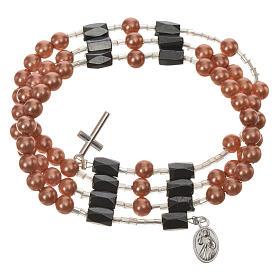 Pulsera rosario Medjugorje perlas marfil s5