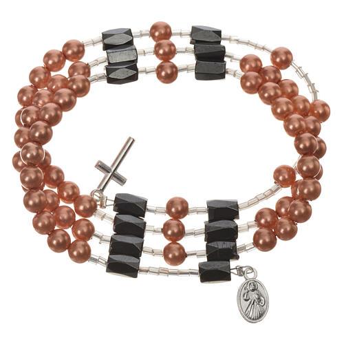 Pulsera rosario Medjugorje perlas marfil 5