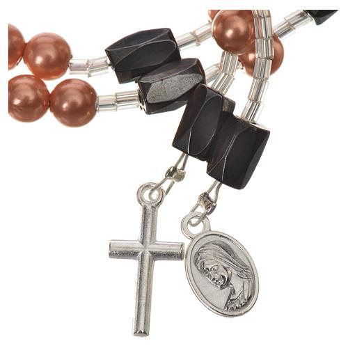 Pulsera rosario Medjugorje perlas marfil 7