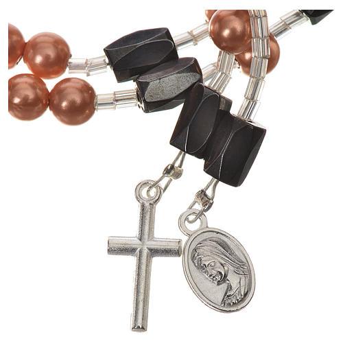 Pulsera rosario Medjugorje perlas marfil 3