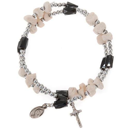 Magnetic rosary bracelet Medjugorje white stone 1