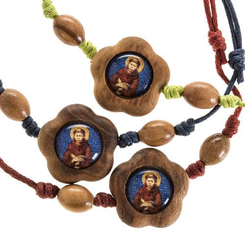 Bracciale immagine San Francesco legno olivo 1
