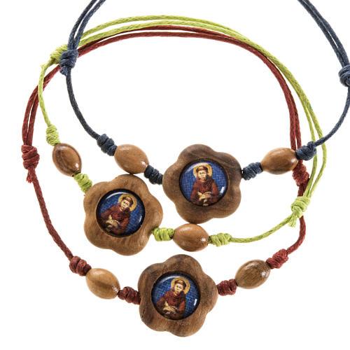 Bracciale immagine San Francesco legno olivo 7