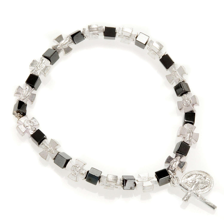 Bracelet hématite avec croix et Vierge Miraculeuse 4