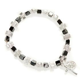 Bracelet hématite avec croix et Vierge Miraculeuse s1