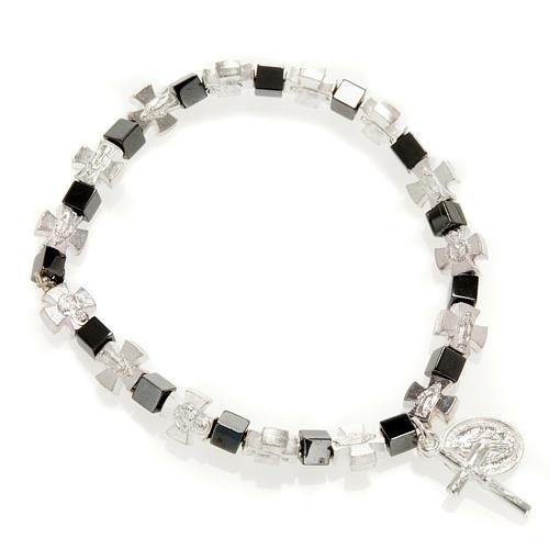 Bracelet hématite avec croix et Vierge Miraculeuse 1