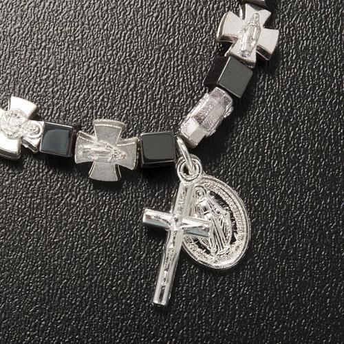 Bracciale ematite con crocette e Madonna Miracolosa 4