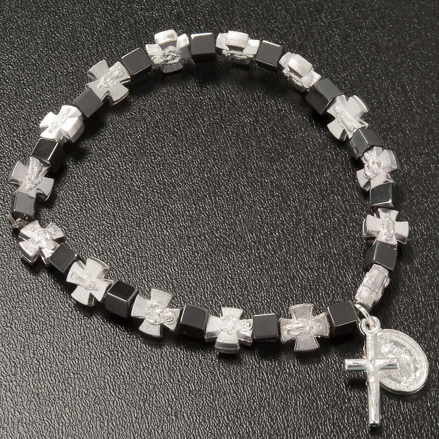 Hematite bracelet with cross and Miraculous Virgin 4