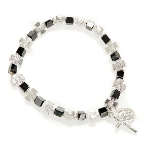 Hematite bracelet with cross and Miraculous Virgin s1