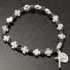 Hematite bracelet with cross and Miraculous Virgin s3