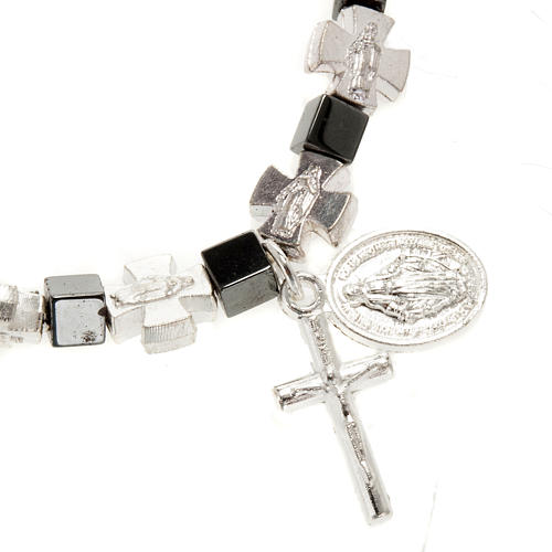 Hematite bracelet with cross and Miraculous Virgin 2