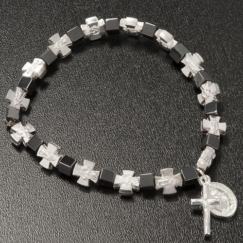 Hematite bracelet with cross and Miraculous Virgin 3