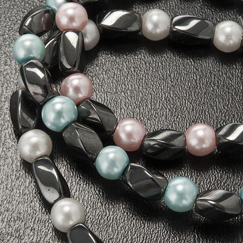 Elastic bracelet in hematite and fake pearl 5