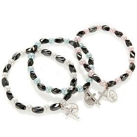 Bracelet religieux élastique hématite et imitation perle s1