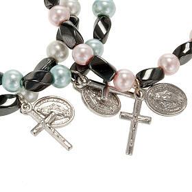 Bracelet religieux élastique hématite et imitation perle