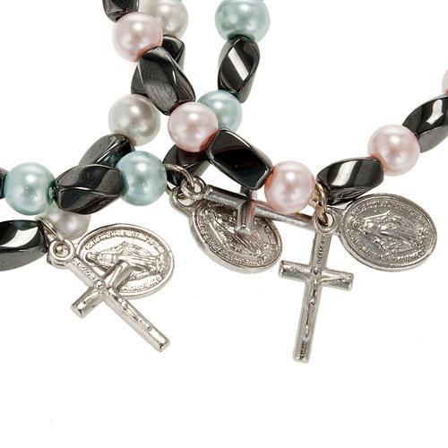 Bracelet religieux élastique hématite et imitation perle 2