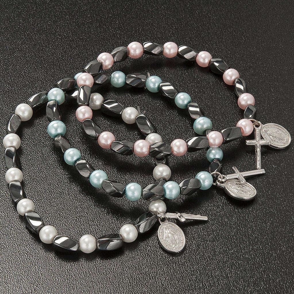 Bracciale elastico ematite e imitazione perla 4