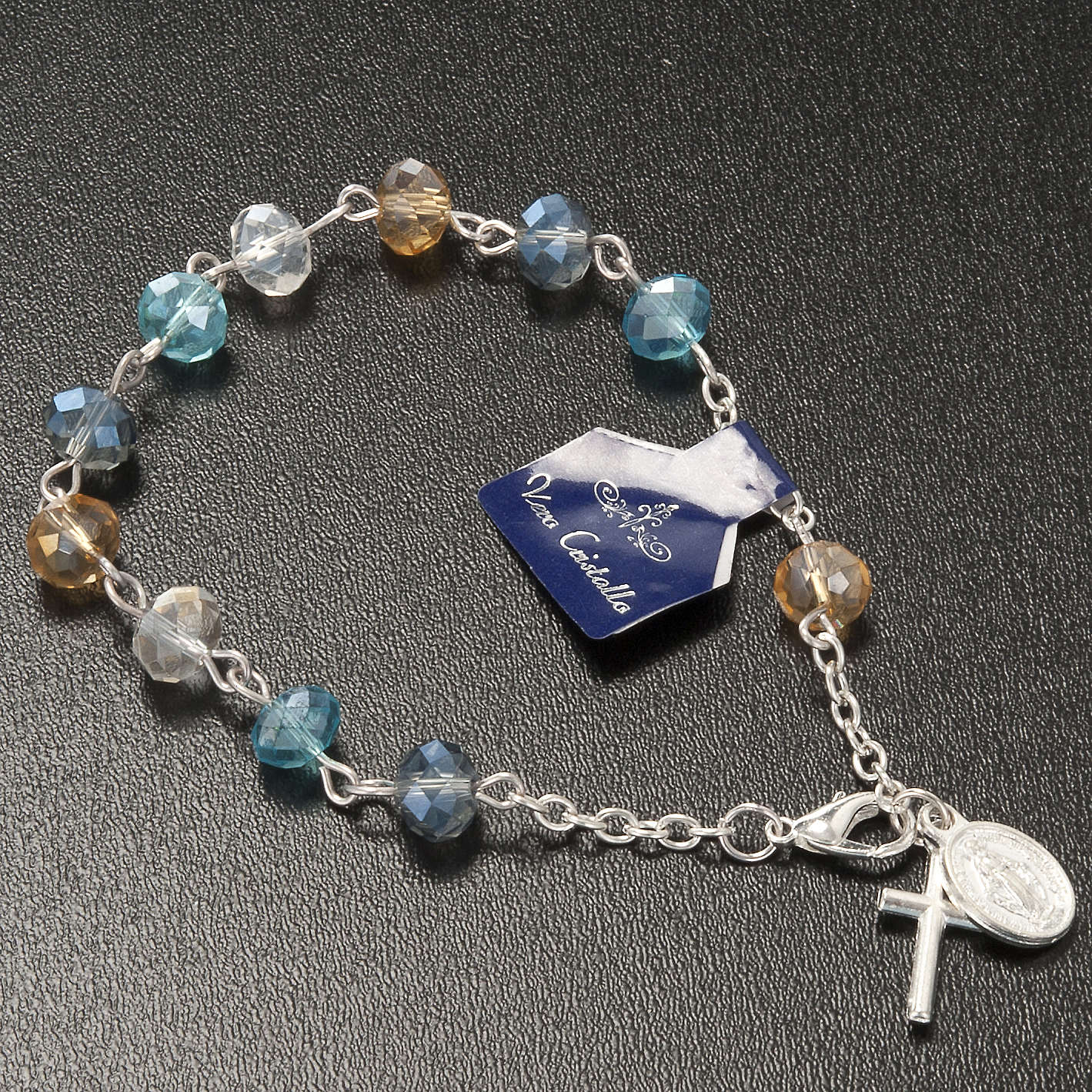 Pulsera rosario decena de cristal 8x6mm 4