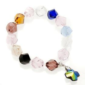 Bracciale cristallo grani e croce s1
